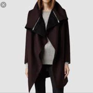All Saints Jax dark purple/burgundy black coat sz6
